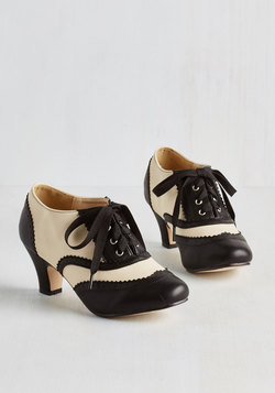 Dance It Up Heel in Black and Ivory