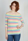 Cafe Parfait Top in Rainbow - 3/4 Sleeves