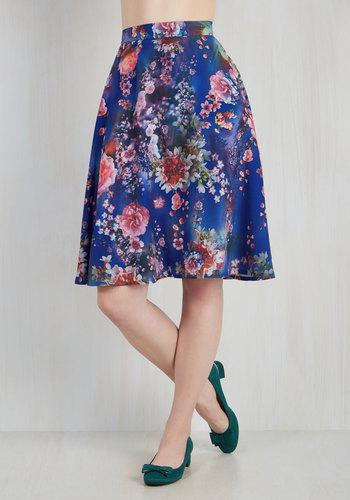 Profound Pizzazz Skirt in Blue Blooms $59.99 AT vintagedancer.com