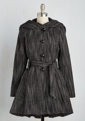 Once Upon a Thyme Coat in Salt and Pepper by Steve Madden - Belted, Long Sleeve, Hoodie, Black, Black, 3, Long, Fall, Winter, Tis the Season Sale