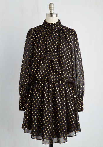 Discerning Desire Dress - Black, Gold, Polka Dots, Tie Neck, Special Occasion, Party, Holiday Party, Drop Waist, Long Sleeve, Woven, Better, Mid-length, Chiffon