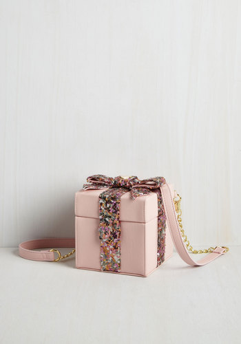 We Now Present You Bag by Betsey Johnson - Pink, Solid, Sequins, Special Occasion, Party, Cocktail, Girls Night Out, Holiday, Holiday Party, Luxe, Quirky, Darling, Better, Faux Leather, Mixed Media