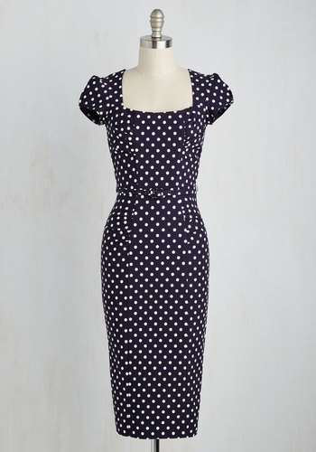 Dot You Agree? Dress by Stop Staring! - White, Polka Dots, Print, Work, Pinup, Sheath, Short Sleeves, Winter, Woven, Long, Colorsplash, Blue, Exceptional, Vintage Inspired