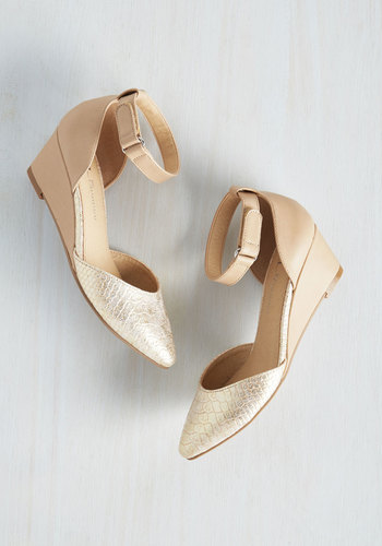 Step Perception Wedge in Gold $49.99 AT vintagedancer.com
