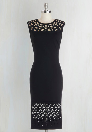 Grand Gallery Dress in Black - Sheer, Knit, Black, Solid, Cutout, LBD, Sleeveless, Good, Cocktail, Sheath, Long