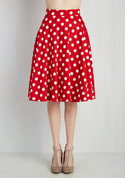 Bugle Boogie Skirt in Red Dots