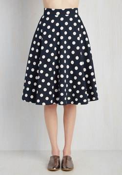 Bugle Boogie Skirt in Navy Dots