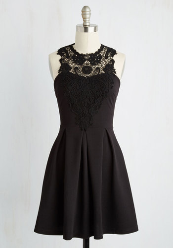 Noir and Away Dress - Black, Solid, Crochet, Pleats, Sleeveless, Fall, Knit, Good, Halter, Cocktail, Girls Night Out, LBD, Short, Fit & Flare, Prom