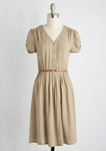 Take to the Wind A-Line Dress in Tan - Tan, Print, Buttons, Belted, Casual, A-line, Short Sleeves, V Neck, White, 90s, Social Placements, Mid-length, Top Rated, Work, Vintage Inspired, Shirt Dress, Summer, 20s
