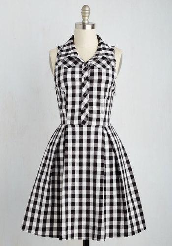 atlanta adventure dress in black plaid mod retro vintage