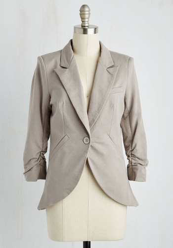 Fine and Sandy Blazer in Pebble - 3/4 Sleeve, Knit, Better, Grey, Solid, Buttons, Pockets, Work, Scholastic/Collegiate, Spring, Summer, Fall, Collared, Mid-length, 1