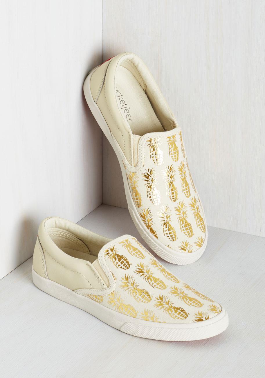 gold pineapple slip on sneakers