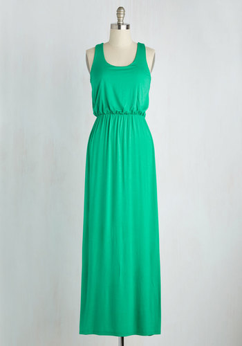 Breezy Night Stroll Maxi Dress in Green - Green, Solid, Maxi, Tank top (2 thick straps), Minimal, Beach/Resort, Scoop, Summer, Jersey, Basic, Cover-up, Festival, Maternity, Sundress, Boho, Full-Size Run, Top Rated, Colorsplash, Racerback, Long, Casual, Spring