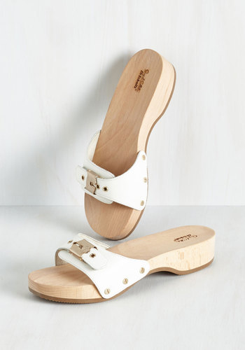 Maritime to Shine Sandal in White by Dr. Scholl's - White, Solid, Casual, Beach/Resort, Boho, Vintage Inspired, 70s, Minimal, Variation, Exceptional, Buckles
