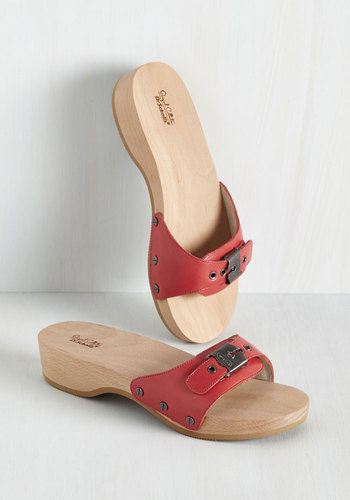 Maritime to Shine Sandal in Red by Dr. Scholl's - Red, Solid, Casual, Beach/Resort, Vintage Inspired, 70s, Minimal, Americana, Exceptional, Variation, Low, Leather, Spring, Summer