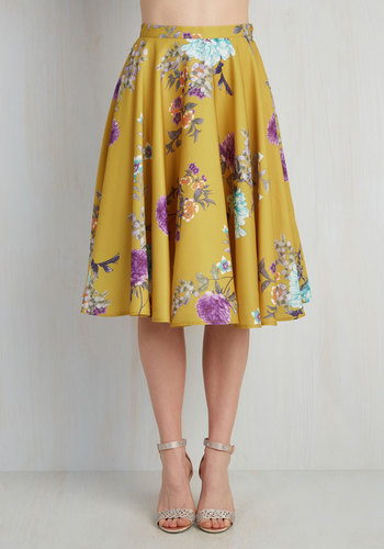 Ikebana for All Skirt in Floral by Bea & Dot - Yellow, Floral, Work, Vintage Inspired, Spring, Exclusives, Better, Best Seller, Full, Summer, 50s, Press Placement, High Rise, Long, Colorsplash, Wedding