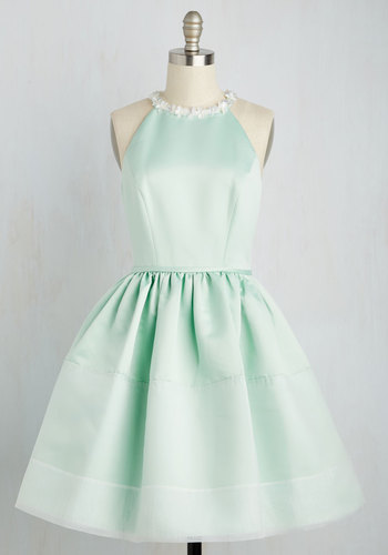 Party Party Princess Dress by Wendy Bird - Green, Solid, Wedding, Daytime Party, Graduation, Bridesmaid, Fit & Flare, Halter, Spring, Woven, Best, Exclusives, Halter, Mid-length, Satin, Prom