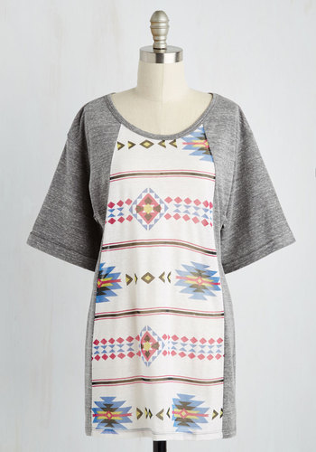 Art-tee-sia Tunic - Grey, Casual, Boho, Show On Featured Sale, Best Seller, 90s, Novelty Print, Short Sleeves, Scoop, Grey, Short Sleeve, Better, Maternity, Fall, Good, 4th of July Sale, Long