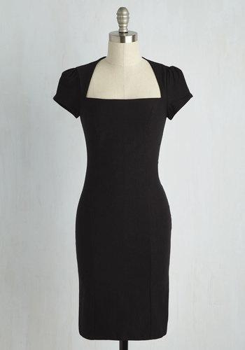 Sleek It Out Dress in Black - Black, Solid, Short Sleeves, Party, Film Noir, Vintage Inspired, Best Seller, Variation, Basic, LBD, Long, Sheath, Top Rated