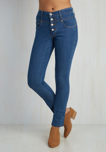 Karaoke Songstress Jeans in Classic - Blue, Solid, Buttons, Pockets, Casual, Skinny, Denim, High Waist, Basic, Best Seller, Rockabilly, Pinup, 90s, Urban, High Rise, Blue, Medium Wash, Denim, Summer, Scholastic/Collegiate, Exclusives, Good, Full length, As You Wish Sale, Top Rated, Fall