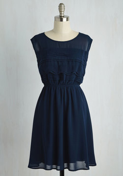 Vogue Wave Dress in Navy