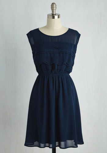Vogue Wave Dress in Navy - Sheer, Mid-length, Blue, Solid, Party, A-line, Sleeveless, Vintage Inspired, 30s, Press Placement, Fit & Flare