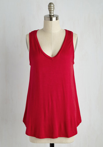 Endless Possibilities Top in Crimson - Red, Sleeveless, Jersey, Knit, Red, Solid, Casual, Tank top (2 thick straps), Variation, Basic, V Neck, Long, Athletic, Americana, Top Rated, Lounge