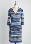 Lighthearted Lecture Dress in Blue Chevron