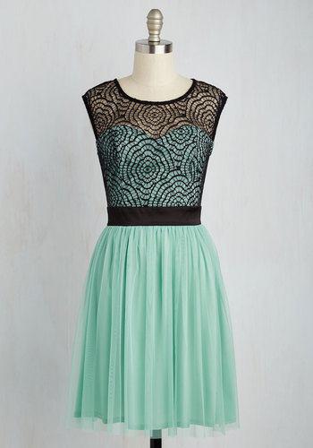 Starlet's Web A-Line Dress in Mint - Mint, Black, Solid, Crochet, Party, Homecoming, Fit & Flare, Woven, Tulle, Better, Mid-length, Variation, Lace, Graduation, Daytime Party, A-line, Cap Sleeves, Spring, Summer, Lace