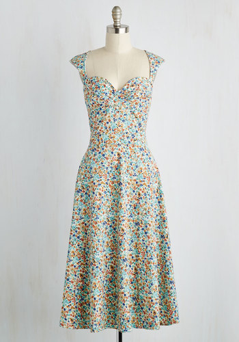 Prove Your Groove Dress in Aqua Blooms $119.99 AT vintagedancer.com