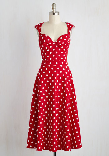 Prove Your Groove Dress in Red Dots $119.99 AT vintagedancer.com