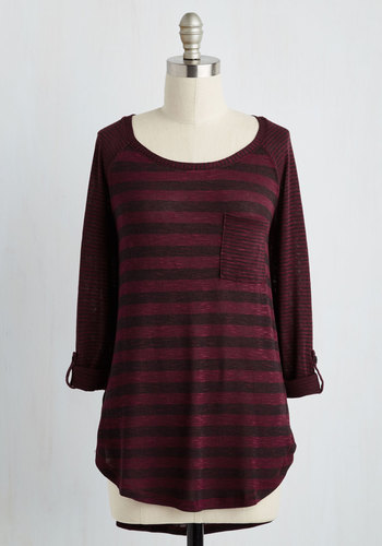 Valued Downtime Top in Burgundy - Mid-length, Knit, Red, Stripes, Casual, 3/4 Sleeve, Best, Variation, Scoop, Pockets
