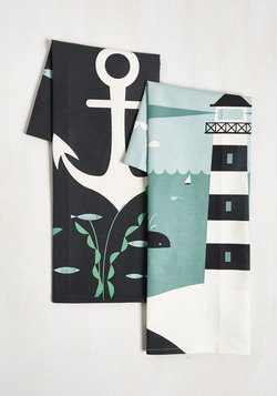 Aweigh From It All Tea Towel Set in Deep Sea