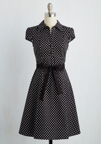 Hepcat Soda Fountain Dress in Black Licorice - Black, White, Polka Dots, Work, Vintage Inspired, Shirt Dress, Cap Sleeves, A-line, Rockabilly, Pinup, Belted, Best Seller, Collared, 50s, Full-Size Run, Good, Mid-length, Print, Cotton, Top Rated