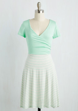 Botanical Breakfast Dress in Mint Stripes