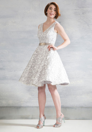 Fast Track to Fanciful Fit and Flare Dress - Grey, Solid, Embroidery, Party, Fit & Flare, Sleeveless, Woven, Better, Long, Prom, Summer, Bride