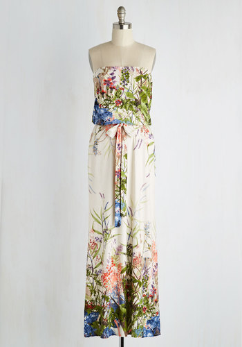 Queen of the Wildflowers Dress - Multi, Floral, Belted, Maxi, Strapless, Better, Knit, Long, Summer, Press Placement, Casual