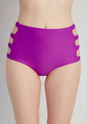 With the Inlet Crowd Swimsuit Bottom - Purple, Solid, Cutout, Luxe, High Waist, Spring, Summer, Beach/Resort