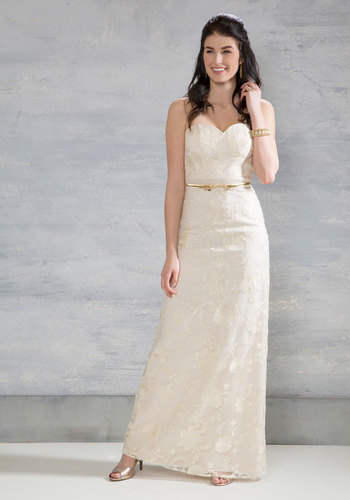 Beauty Beyond Words Maxi Dress in Ivory - White, Solid, Embroidery, A-line, Maxi, Strapless, Woven, Best, Long, Special Occasion, Bride