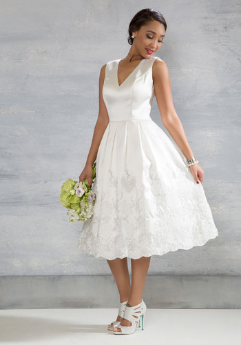 Here Comes the Stride Midi Dress in Ivory - Solid, Embroidery, Special Occasion, Fit & Flare, Sleeveless, Woven, Better, Cream, Long, Graduation, Vintage Inspired, Prom, Bride