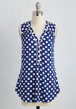 Cafe Au Soleil Top in Blue Dots