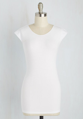 Tanks Very Much Top in White - White, Solid, Casual, Cap Sleeves, Minimal, Crew, Variation, Jersey, Cotton, White, Short Sleeve, Best Seller, Athletic, Mid-length, As You Wish Sale, Americana, Lounge