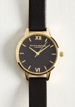 Classic Company Watch in Black & Gold - Midi