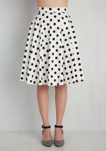 Bugle Boogie Skirt in White Dots $59.99 AT vintagedancer.com