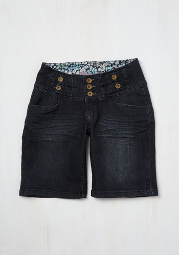 Beachside Bike Ride Shorts - Summer, Good, Mid-Rise, Blue, Dark Wash, Short, Denim, Woven, Blue, Solid, Buttons, Pockets, Casual, Nautical, Top Rated
