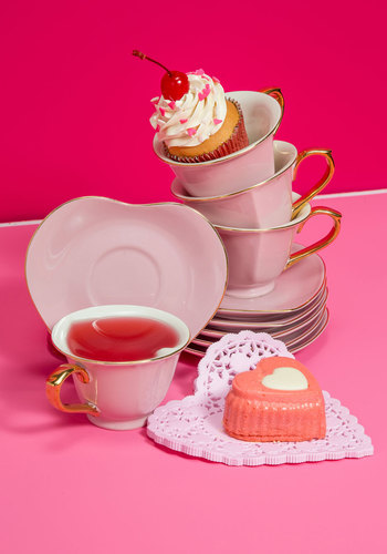 Dream and Sugar Tea Set in Petal - Pink, Solid, Vintage Inspired, Fairytale, Variation, Valentine's, Wedding, Bride, Gals, Best Seller