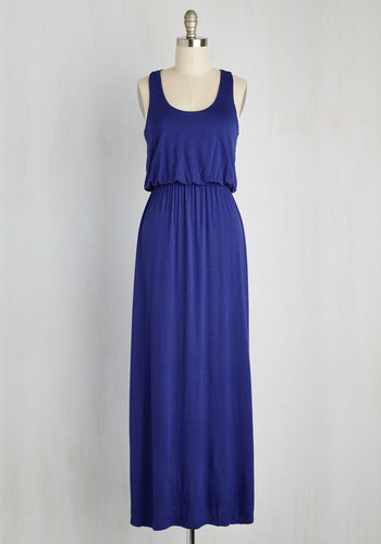 Breezy Night Stroll Dress in Blue - Blue, Solid, Casual, A-line, Tank top (2 thick straps), Racerback, Summer, Maxi, Boho, Minimal, Scoop, Jersey, Variation, Basic, Knit, Cover-up, Festival, Maternity, Sundress, Full-Size Run, Long, Beach/Resort, Top Rated