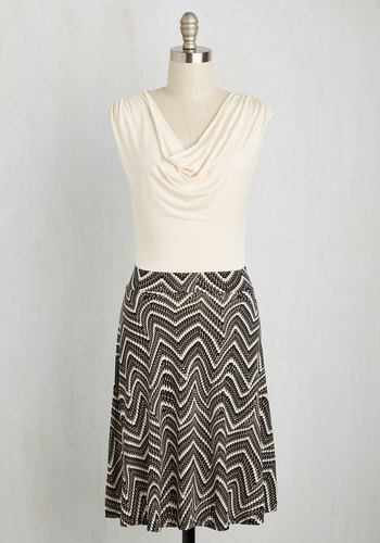 Pretty Packages Dress in Swirled Chevron - Print, A-line, Twofer, Cap Sleeves, Cowl, Jersey, Knit, Mid-length, Black, Work, White, Better, Casual