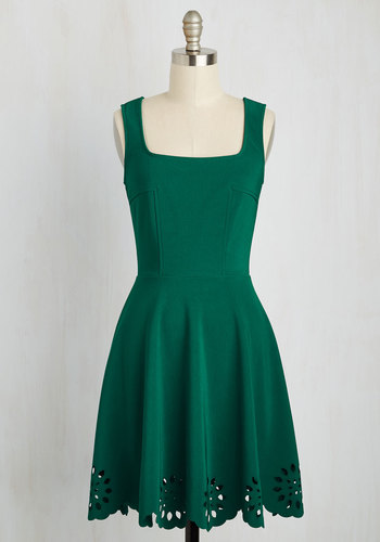Eyelet Getaway Dress in Forest - Knit, Green, Solid, A-line, Good, Cutout, Sleeveless, Mid-length, Casual, Fit & Flare