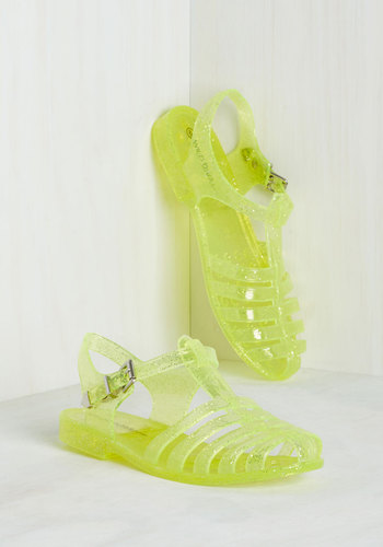 Saved by the Jelly Sandal in Chartreuse
